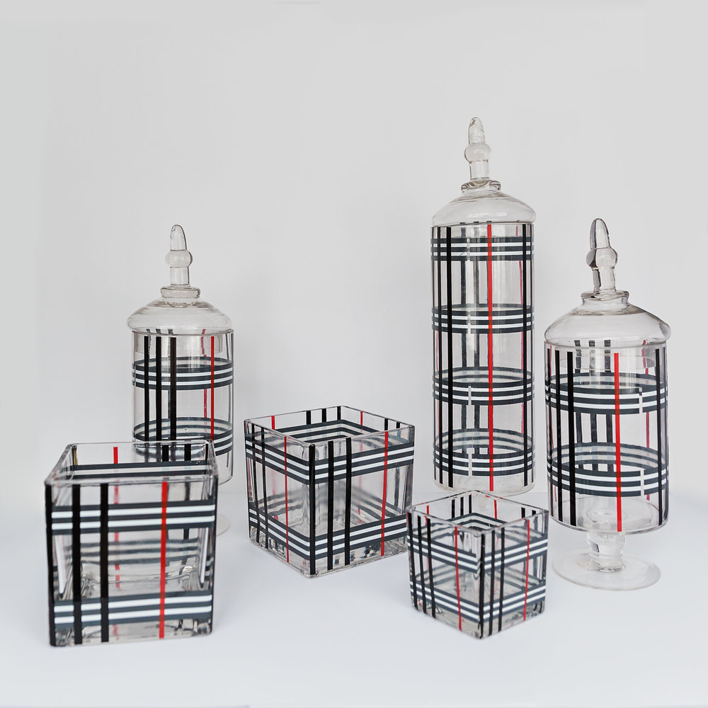 """The Plaid Collection  apothecary jars: 14'' to 20.5"""", block vases: 3.5"""" to 6"""" >>>$18.00 set<<<"""