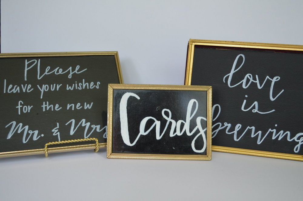 Black & White Pre-Written Sign Collection 'cards', 'love is brewing', 'please leave your wishes for the new mr&mrs' >>>$3.00 set<<<