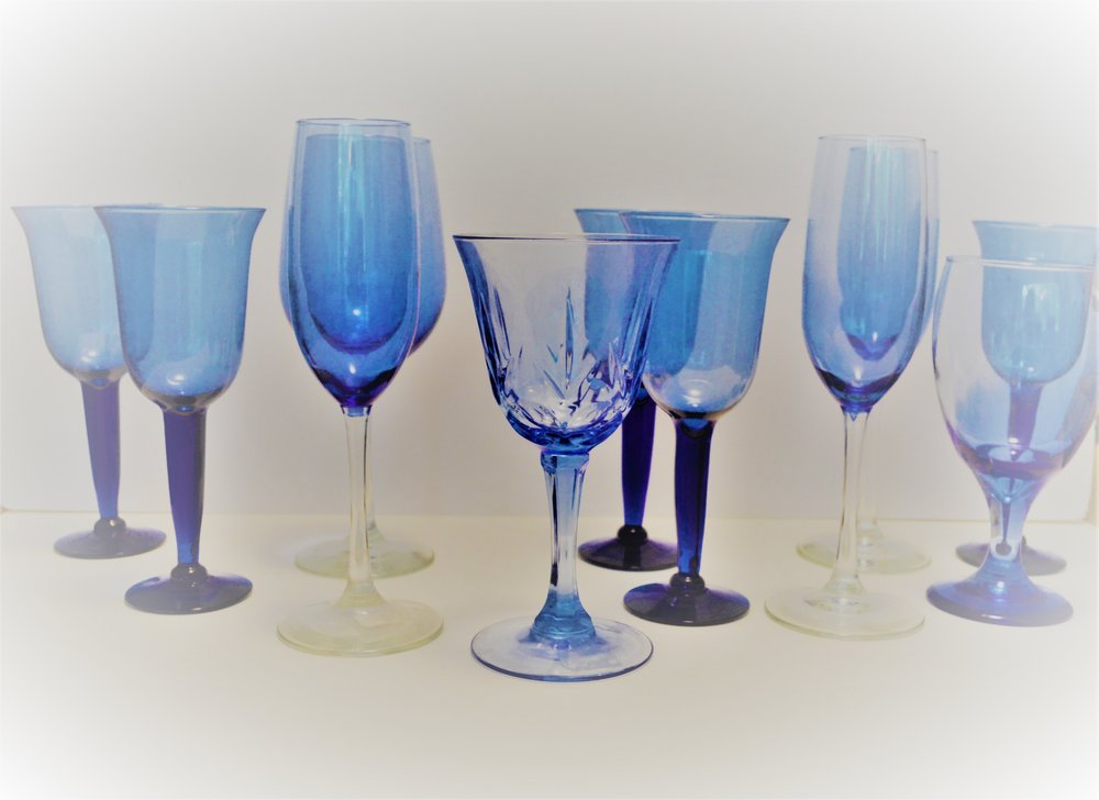 Various Blue Glasses  comes as set of 11 glasses. >>$7.00 set<<