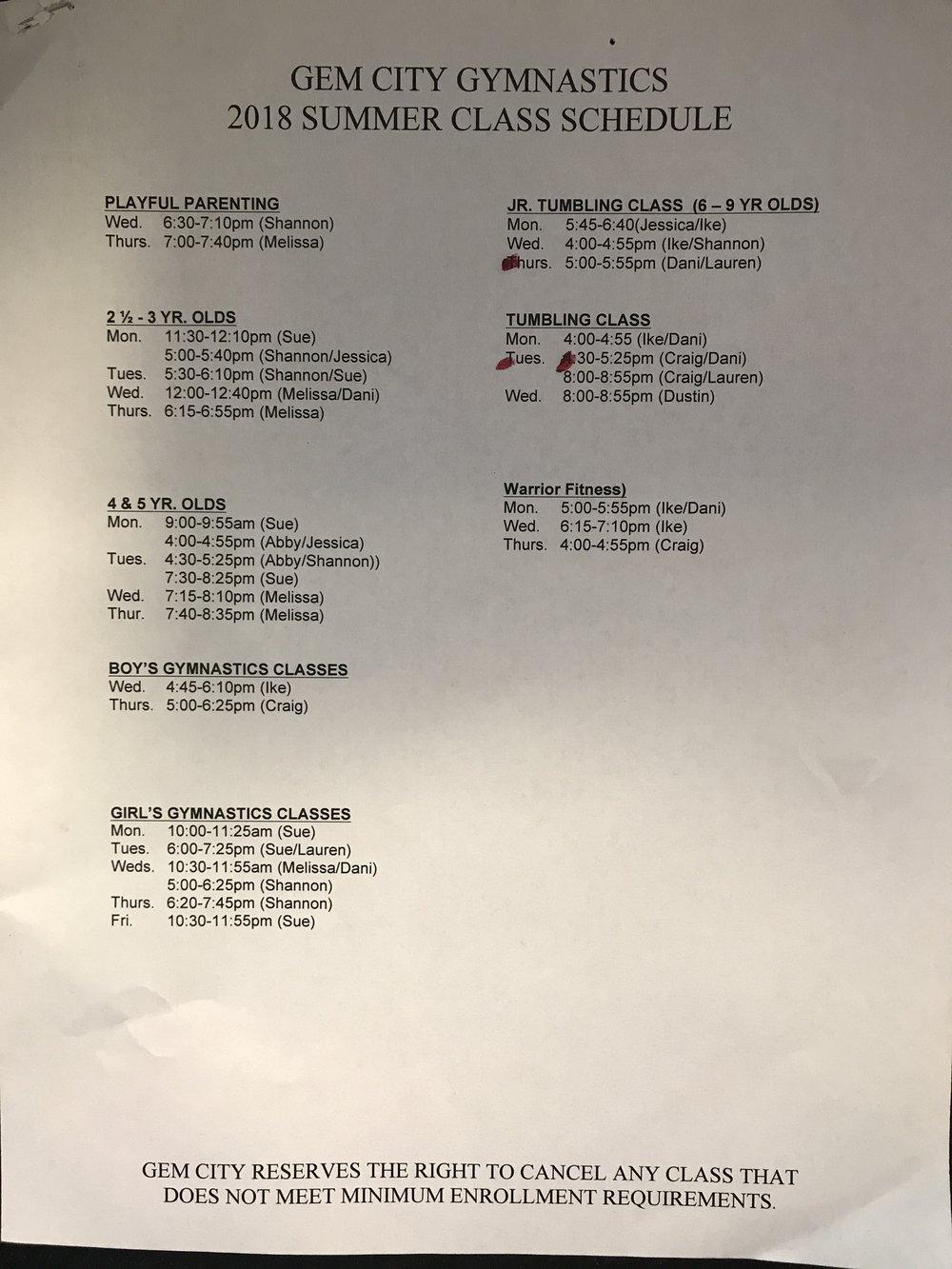 2018 Summer Classes Gem City
