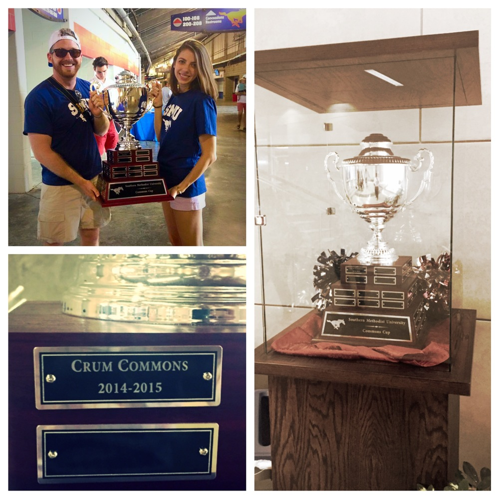 RCD Sam Gavic and 2014-15 Crum President Meaghan Binion holding trophy after presented at the SMU Spring Game