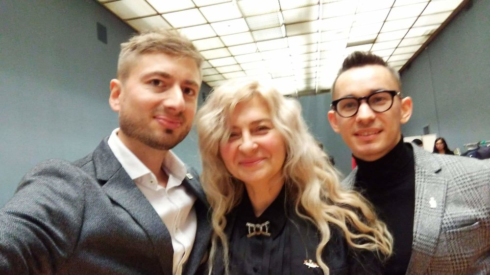 "Ilya Demutsky, Olga Maslova and Igor Konyukhov, ""Black Square"" authors, at the premiere of the opera at Tretyakov's Gallery in Moscow, Russia, November 2018."