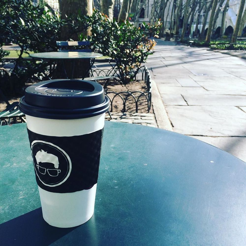 Freezing my tooch off a little bit, but managing to enjoy the lovely (and empty) #bryantpark and a big cup of joe (black, no sugar). It's Wednesday! Almost there… #NYC #coffee #gregoryscoffee #sunnyday #bushwick #bushwicknutrition #lazynutrition #lazynutritionist  http://ift.tt/1lvBlBS