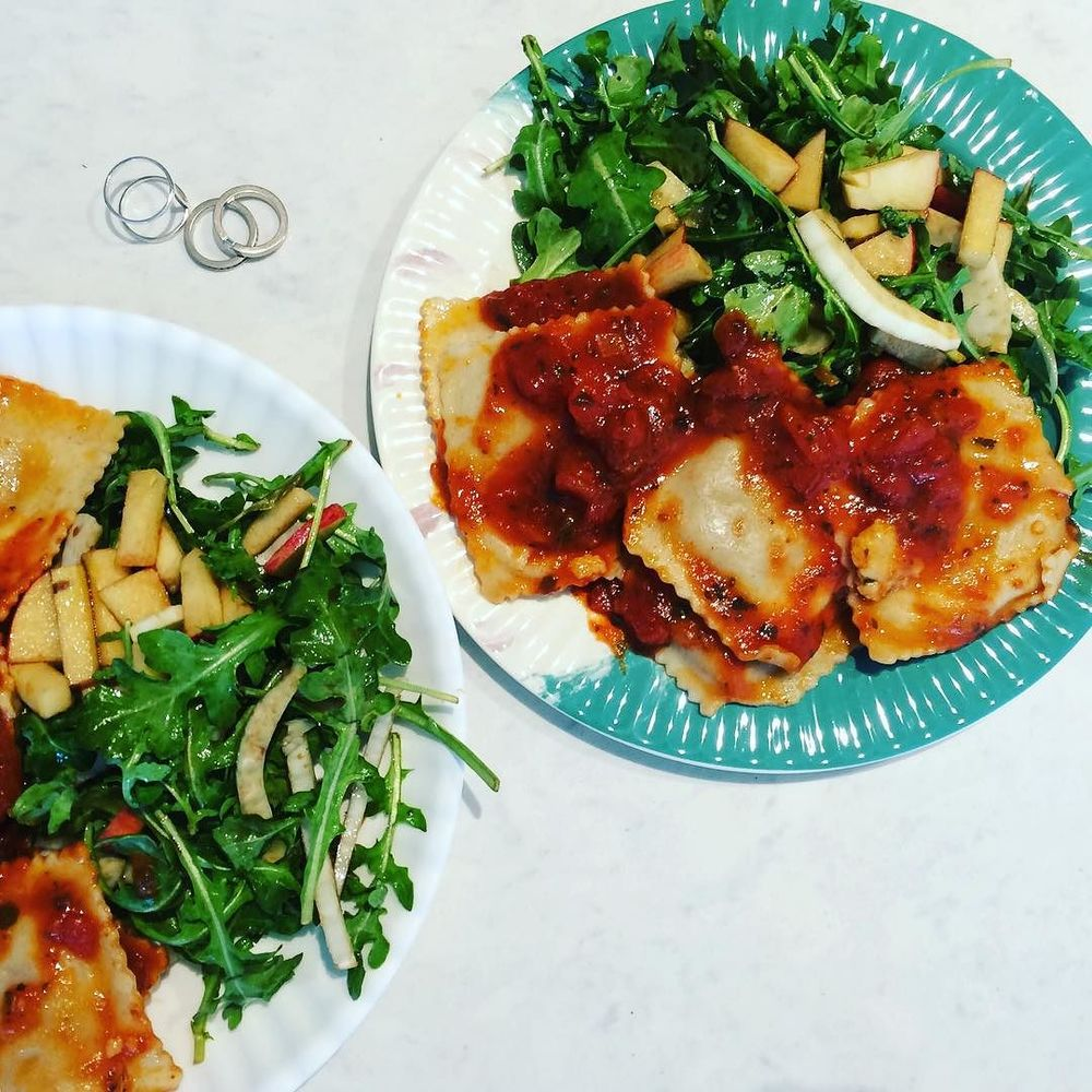 Use #mindlesseating tips to your advantage! Use #smallplates to reduce portion size naturally. Does my plate look sad to you?! NO! Its overflowing :) Pictured: arugula salad with fennel and apple and roasted root veggie ravioli from @traderjoeslist #portioncontrol #salad #ravioli #portions #myplate #bushwick #bushwicknutrition #lazynutrition #lazynutritionist #brooklyn  http://ift.tt/1Ko5zNR