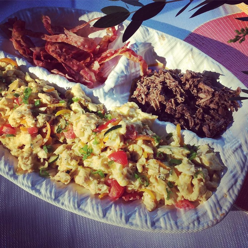 Delicious #breakfast by @tcabrarr! By adding a ton of #veggies (peppers, zucchini, scallions) to the scrambled #eggs, you crowd out some of the other sides on the plate. In this case, bacon and slow cooked #barbacoa. Love #Saturday's! #familytime #lazynutritionist #breakfast #lazynutrition #Bushwick #bushwicknutrition #slowcook  http://ift.tt/1jhaQjt