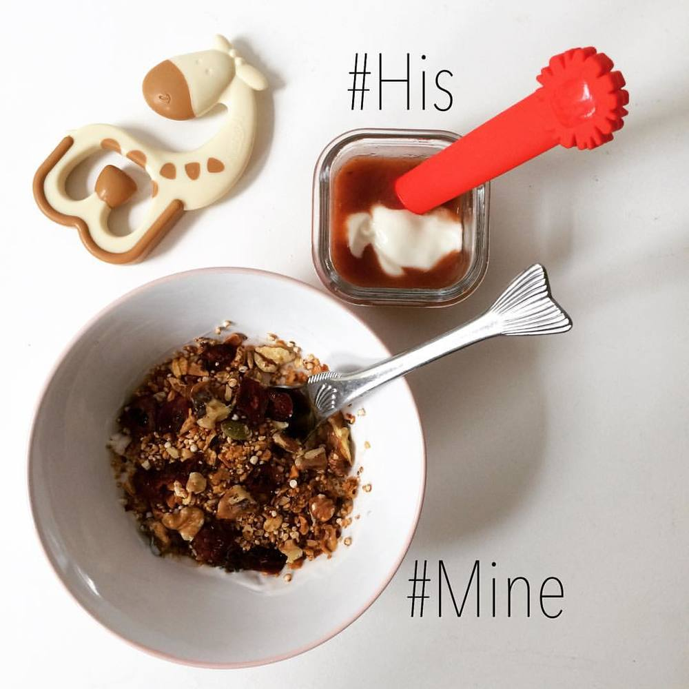 Today my little boy is 7 months old! One of the things I love most about this age is the food introduction, #exploration. Our pediatric team (#TribecaPediatrics) is awesome! They really harp on the consistency of food (yogurt-like) at this time, but strongly suggest an array of flavors (highlighting savory instead of sweet).   Pictured:   #Mine: unsweetened whole fat organic yogurt with frozen berries and lightly sweetened granola.   #His: puréed berries, apple, and mango with unsweetened whole fat organic yogurt. #babyfood #homemade #quickmeals #babycook #pureedmeals #yogurt #wholefat #organic #lazynutrition #lazynutritionist #bushwick #bushwicknutrition