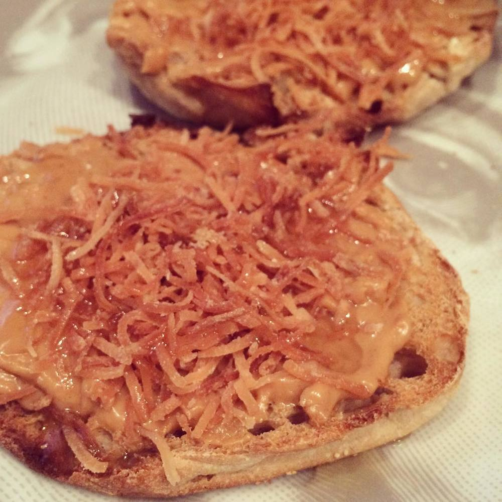 Using #leftover #toastedcoconut flakes from yesterday's salad on my #peanutbutter English muffin. I love being able to #repurpose food :) #bushwick #lazynutritionist #lazynutrition #bushwicknutrition #simplemeals #breakfast #happyFriday!!