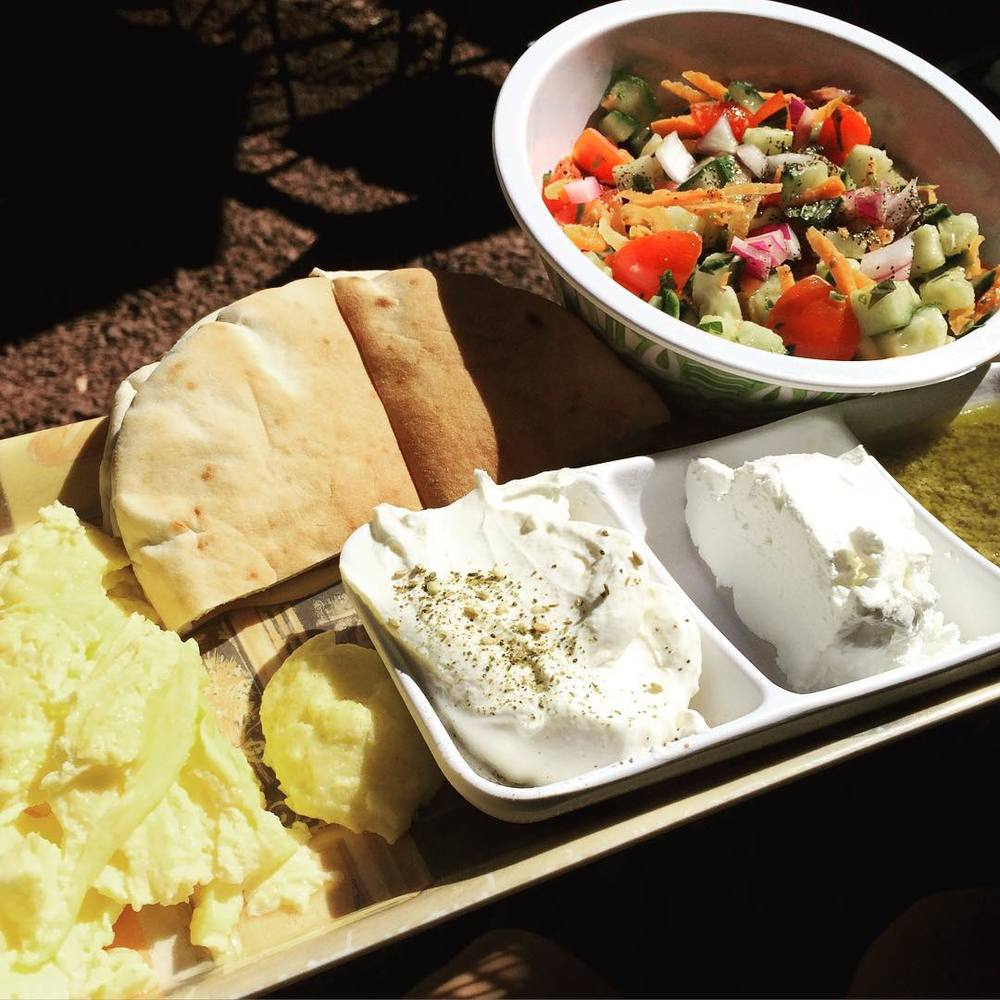 Absolutely LOVED my #breakfast at #artcafenyack. Most important meal of the day :)) Two #organic whole #eggs, #israelisalad (#veggies for breakfast!), pita, Bulgarian cheese, #olive spread, and #labane. #goodstarttotheday #bushwick #bushwicknutrition #lazynutrition #lazynutritionist