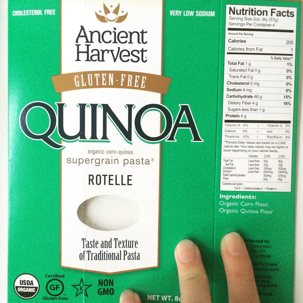 #FoodLabelingConfusion!!! There are so many messages (or should I say, mixed messages) on this box. I just wanted to point out a few:  1) Even though it says QUINOA pasta, the first ingredient is corn. Always read the #ingredient list.  2) Any food that is animal free is naturally #cholesterolfree. So… yes, it's a little weird when orange juice says cholesterol free (?) 3) The serving is 2 oz of dry pasta which makes about 1 cup cooked pasta. 1 cup cooked pasta is 3 servings of carbs…. It adds up quickly!  #bushwick #bushwicknutrition #foodlabel #quinoapasta #ingredientlist #lazynutrition #lazynutritionist