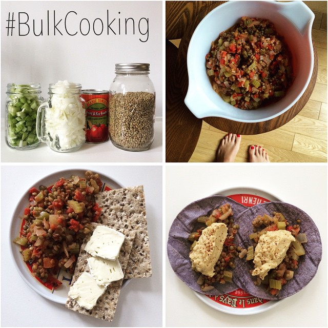 "I hear it all the time… ""I don't have time to cook and/or eat healthy."" BUT, when you cook in bulk, you do! #BulkCooking rocks!!! It allows you to have home-cooked meals, while saving #time and #money!  I used 4 ingredients (#lentils, #celery, #onions, #spicycannedtomato) that made a delish lentil dish. One day I ate it with cheese and crackers, then on tortillas with hummus, then on a salad, and so on. #justdoit #homecookedmeals #cookinginbulk #bushwick #bushwicknutrition #lazynutritionist"