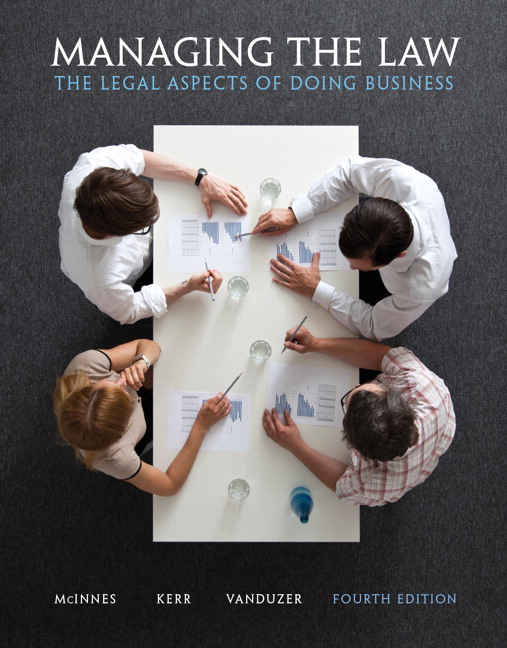 Managing the Law: The Legal Aspects of Doing Business, 4th ed (Pearson Education: Toronto, 2013), [Co-authored by Mitchell McInnes and J. Anthony Vanduzer].