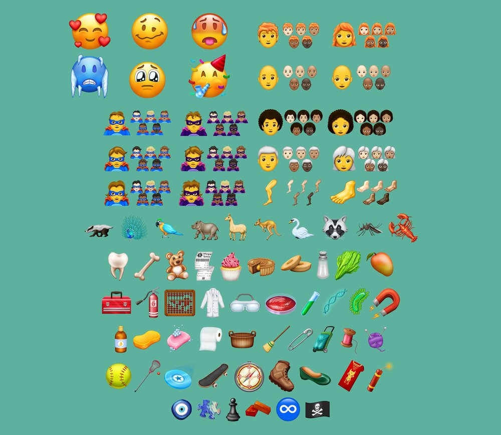 A sampling of the 157 new emojis that are part of Unicode 11.0