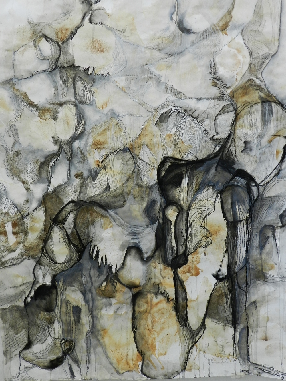 Charcoal, pen and ink, dirt on paper. 2012