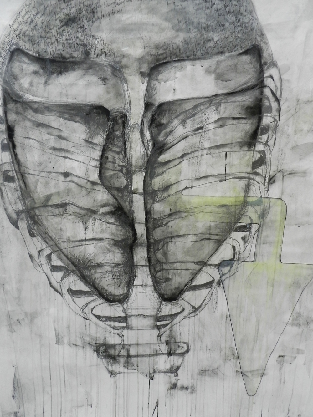 Charcoal, pen and ink and acrylic washes on paper. 2012