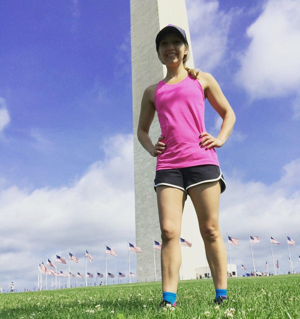 Running near the Washington Monument