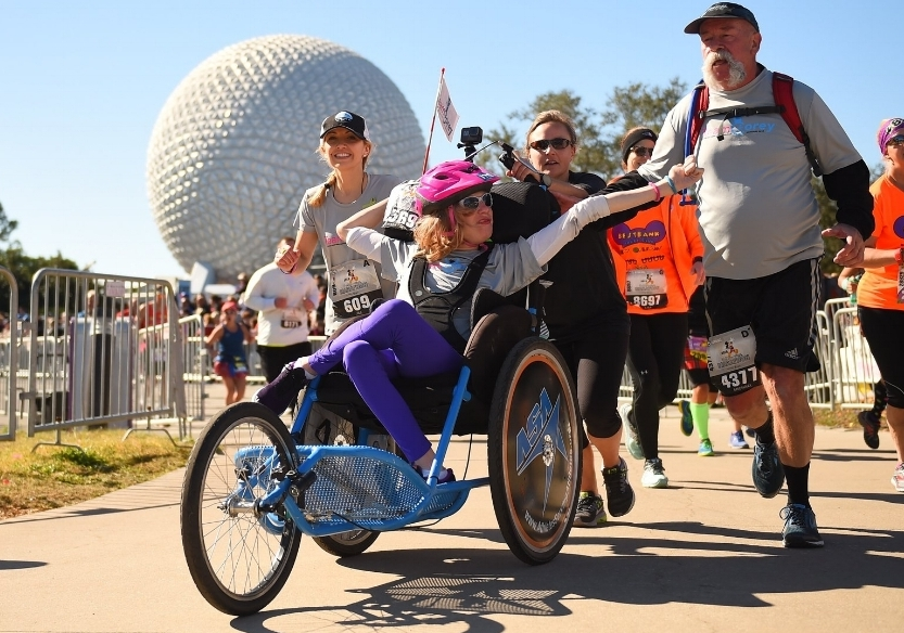 Finishing the 2018 Disney Marathon with Corey. Read our story  here
