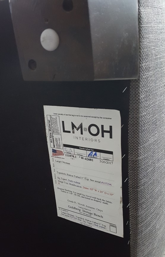 Each piece of custom furniture displays our LMOH Interiors name and product specifications on the tag.