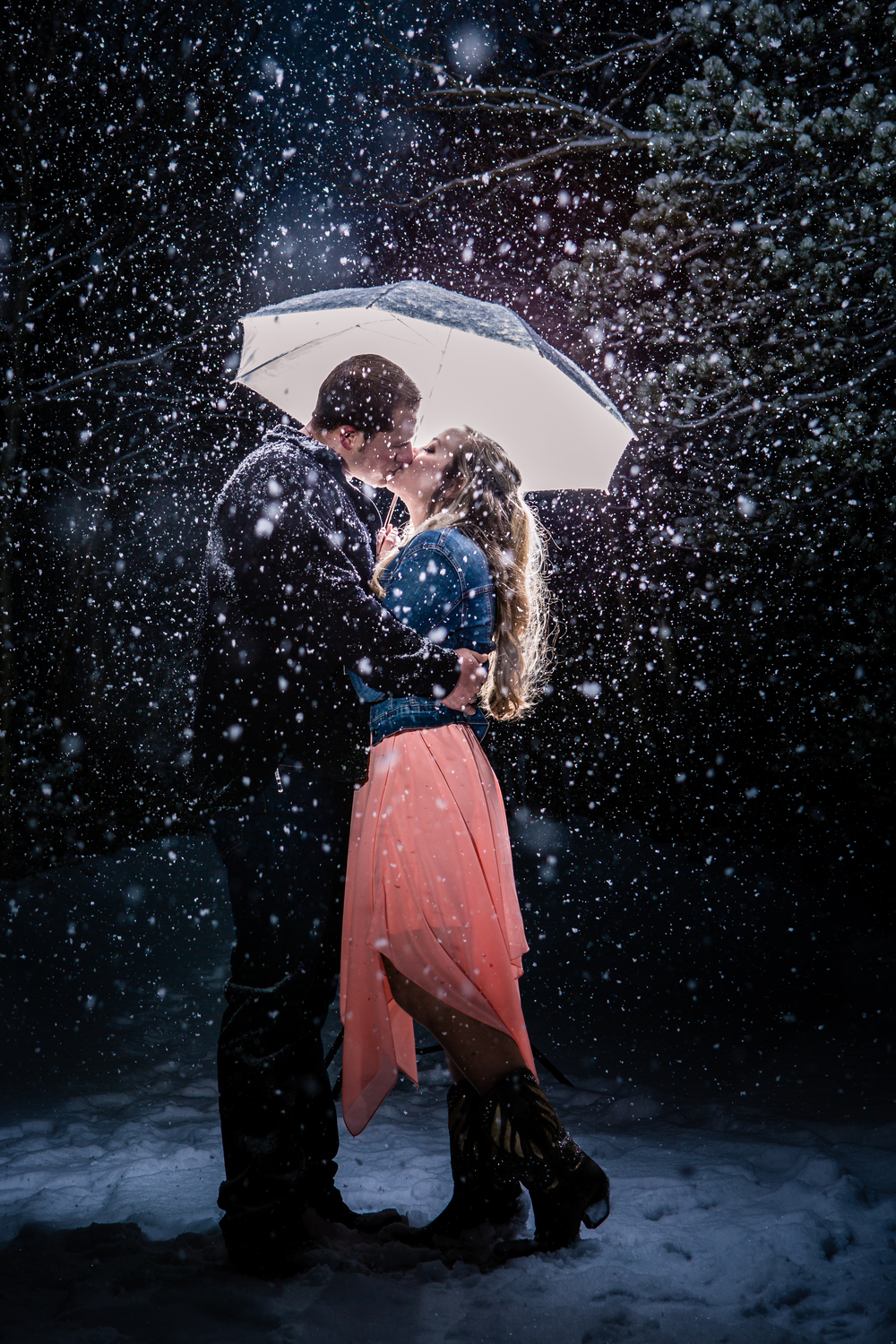 Lily Lake | Estes Park, Colorado | JMGant Photography | Snowy Engagements | Umbrella | www.jmgantphotography.com