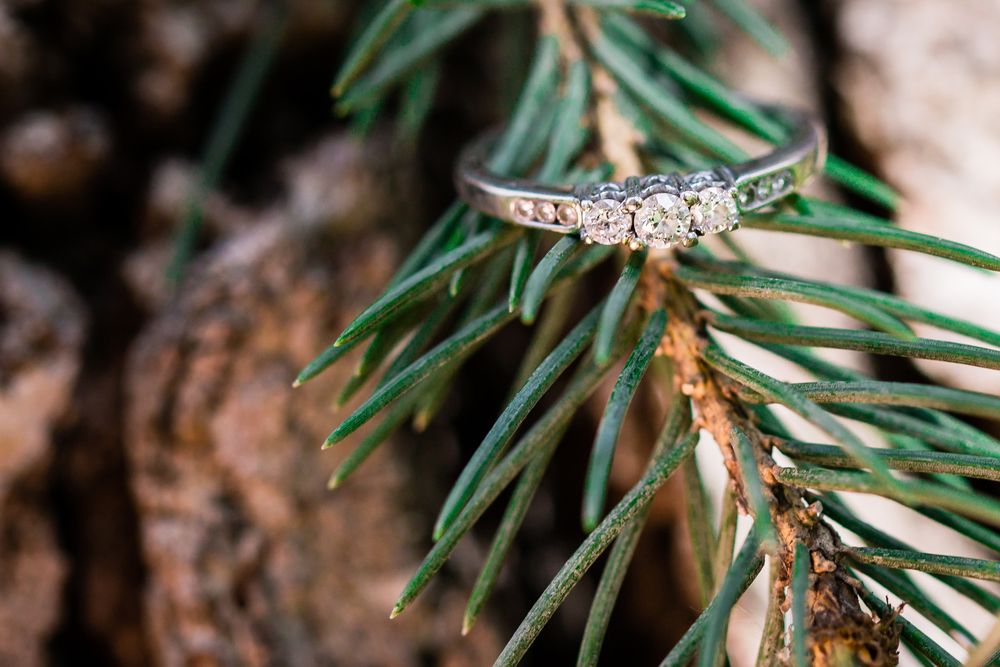 wedding ring on pine branch