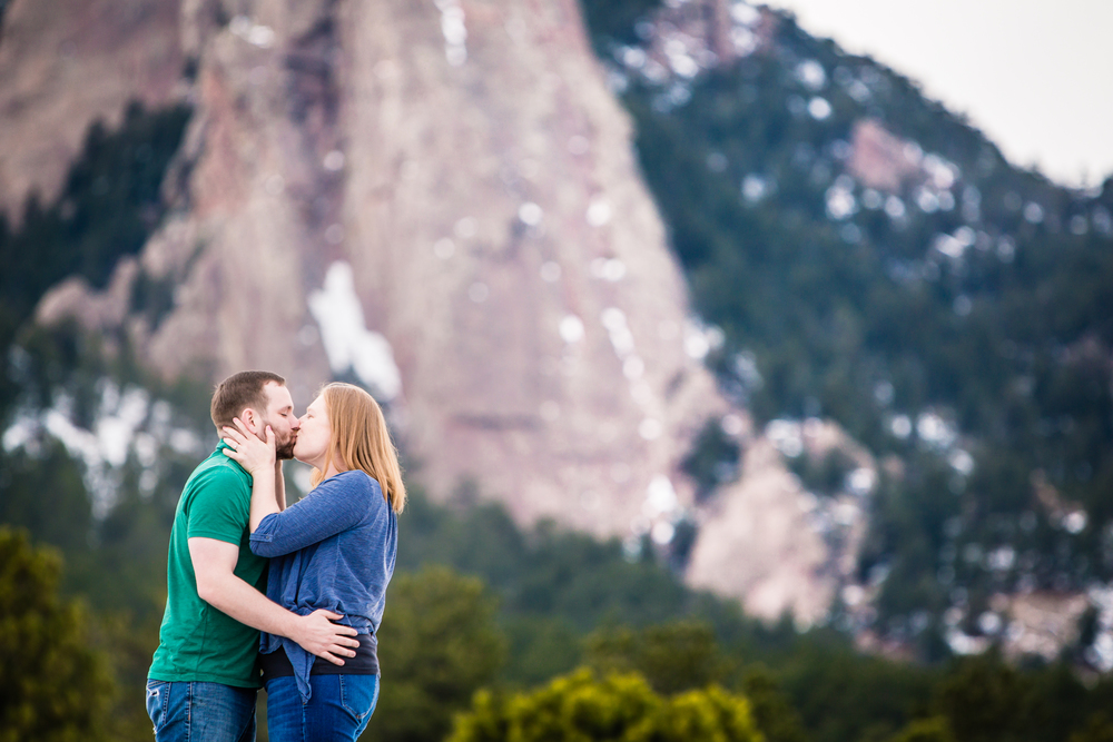 Boulder, Colorado engagements with Flatirons in background.