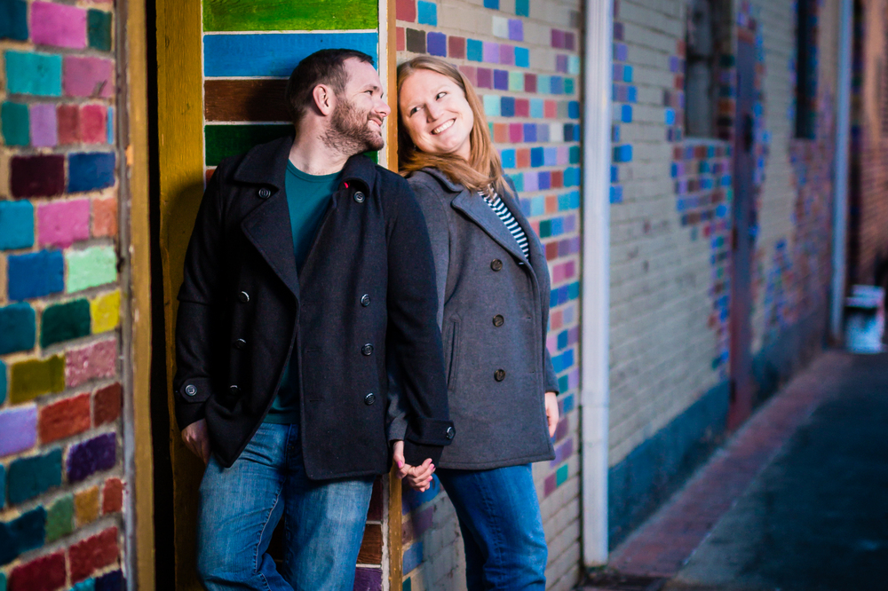Pearl Street Engagements | Boulder Colorado | Colorful Brick Wall