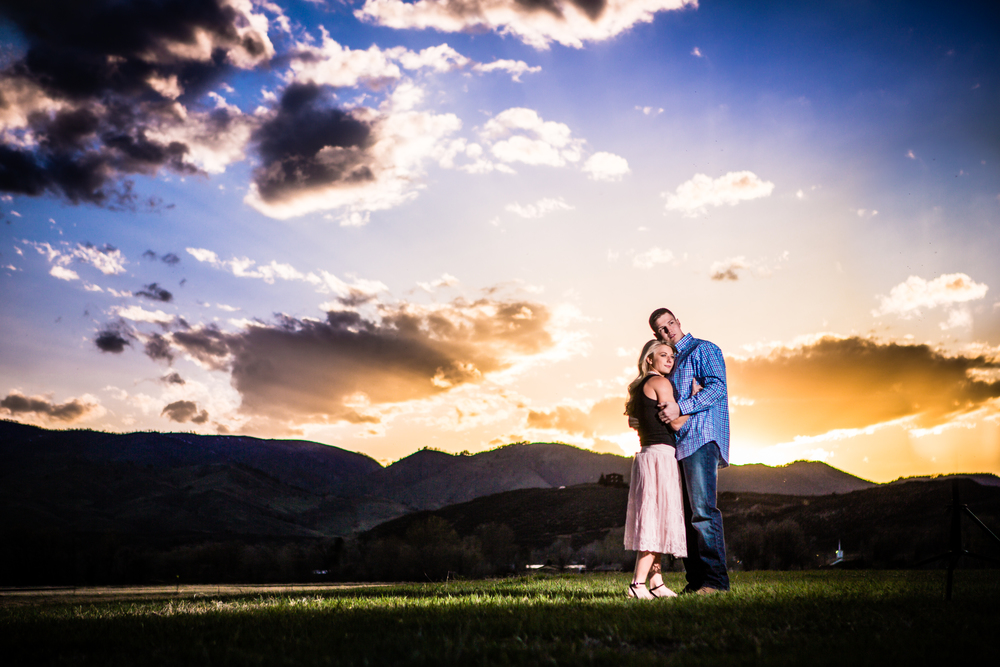 Incredible sunset engagement pictures taken in Fort Collins Colorado by JMGant Photography.