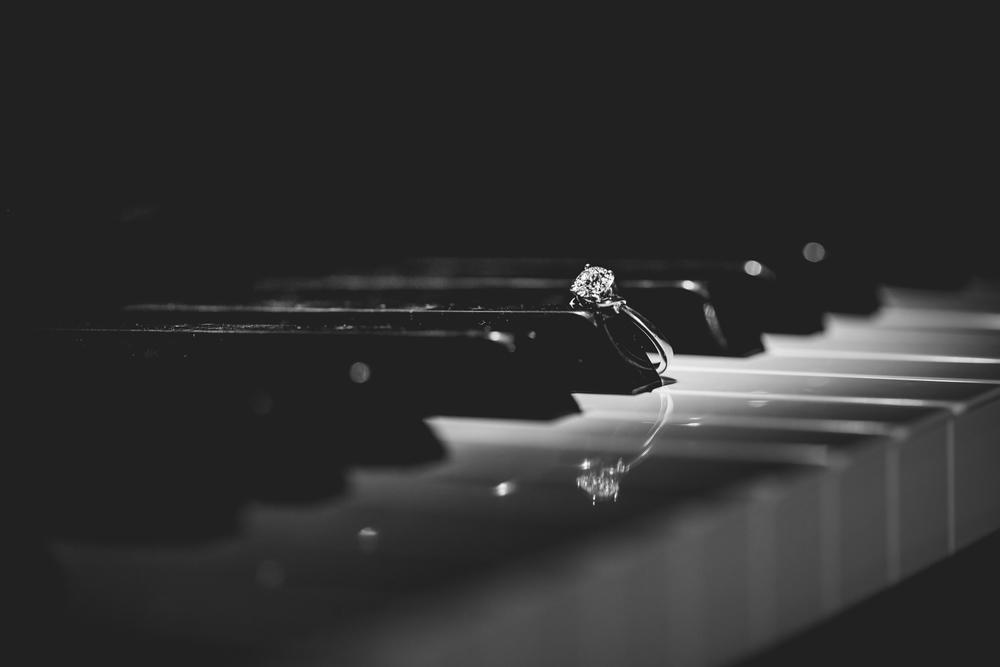 Wedding ring on piano keys.  www.jmgantphotography.com