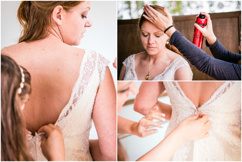 Bride getting ready for her outdoor wedding. Photographed by JMGant Photography