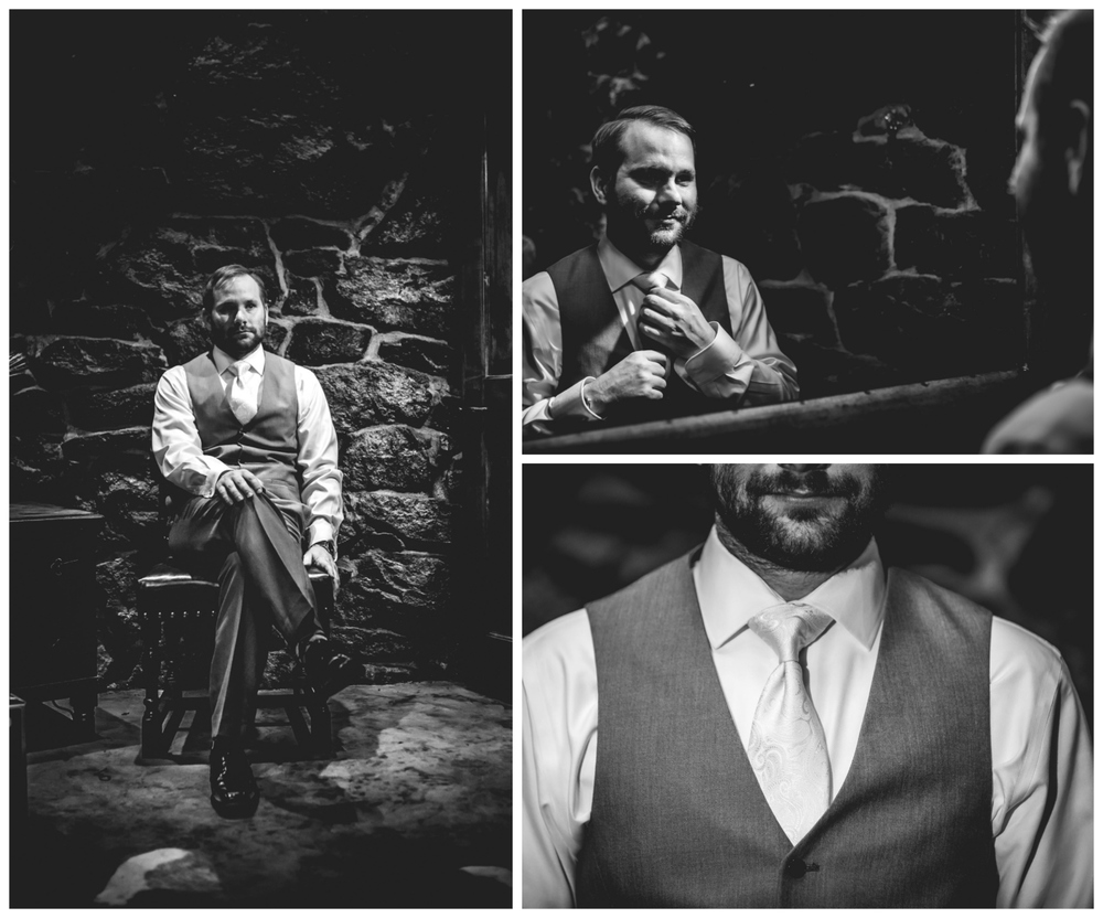 Groom getting ready for his Deer Creek Valley Ranch Wedding. Photographed by JMGant Photography.