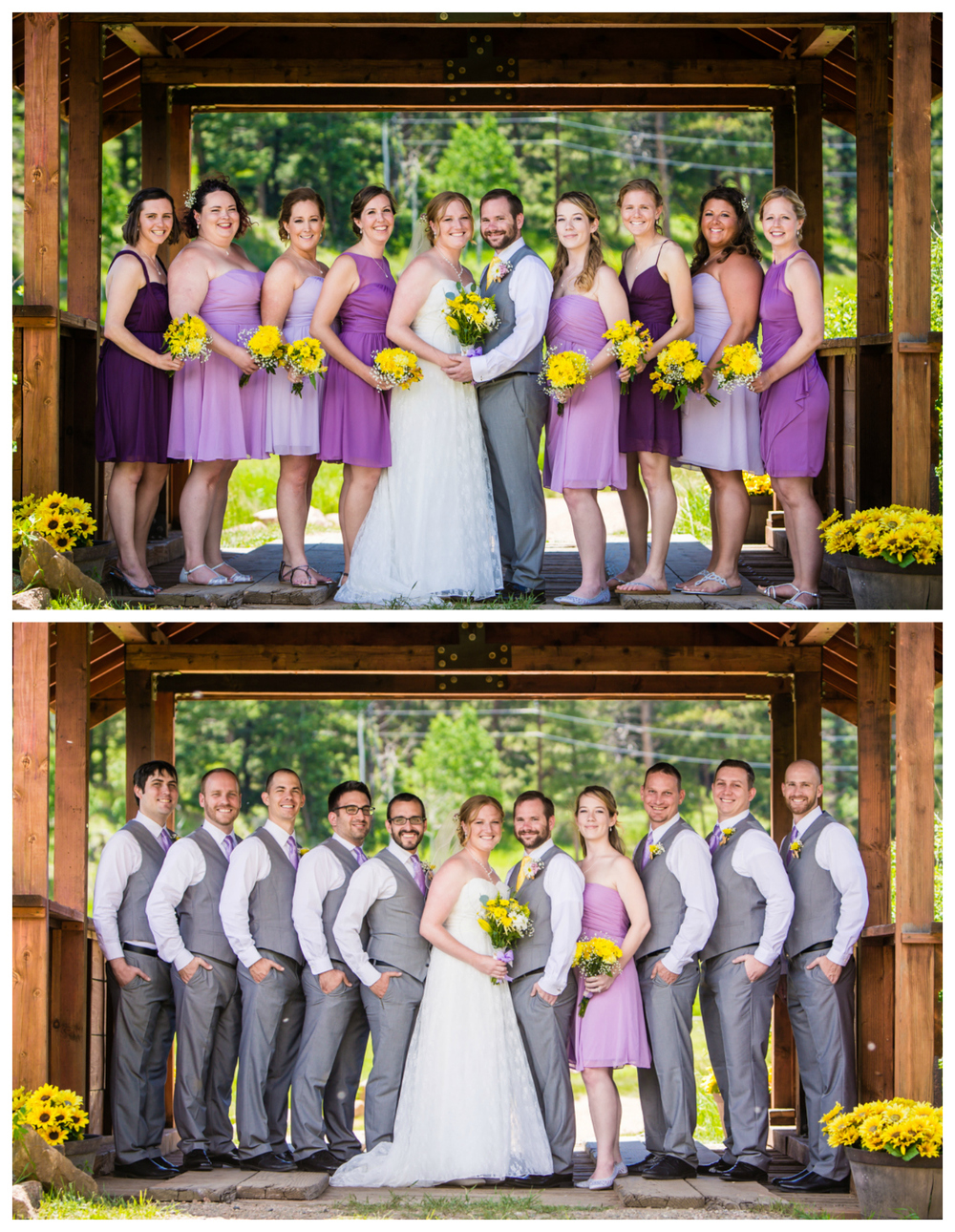 Bridal party. Deer Creek Valley Ranch Wedding. Photographed by JMGant Photography.