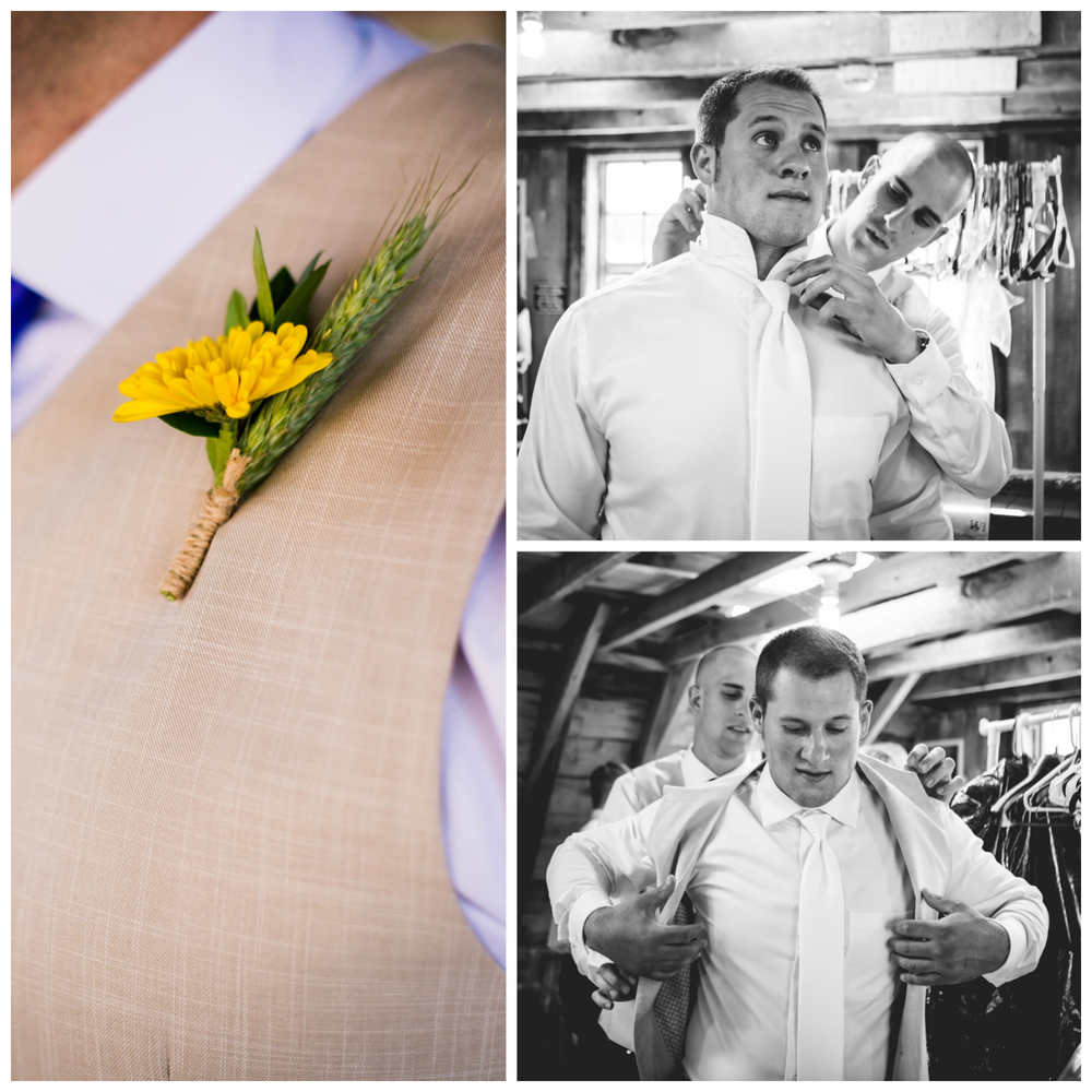 Groom getting ready.The barn at Evergreen Memorial. Photographed by JMGant Photography.
