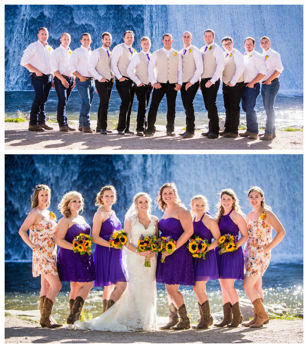 Wedding party.Wedding at The barn at Evergreen Memorial. Photographed by JMGant Photography.