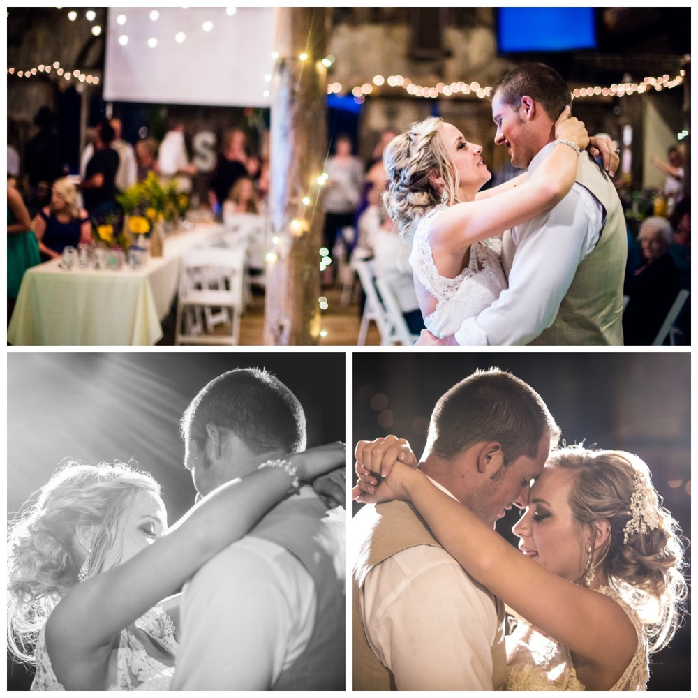 The bride and groom's first dance.Wedding at The barn at Evergreen Memorial. Photographed by JMGant Photography.