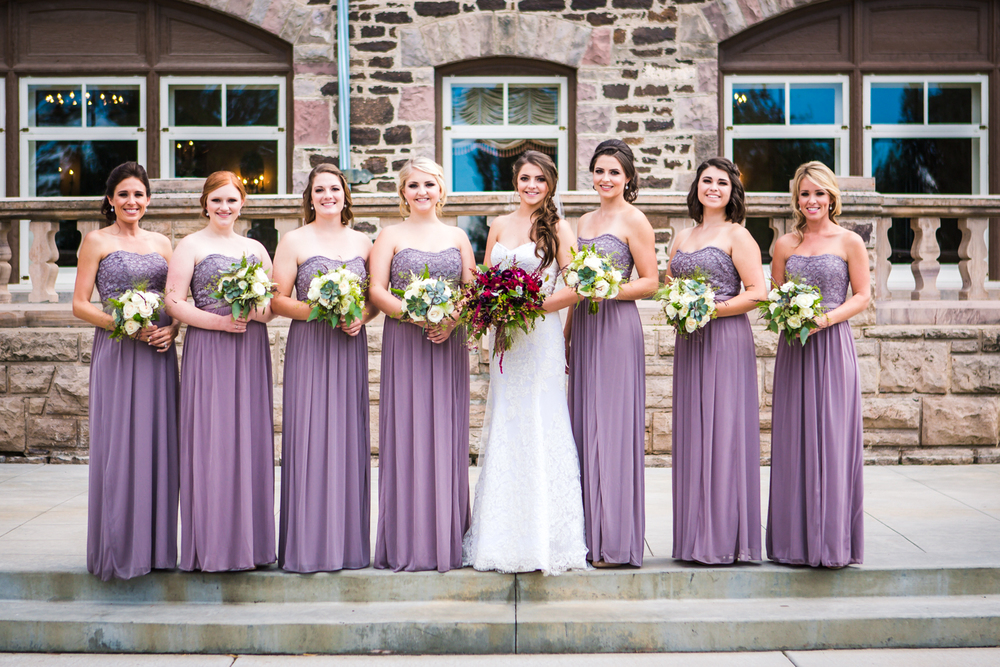 Bridesmaids outside Highlands Ranch Mansion. Photographed by JMGant Photography, Denver Colorado wedding photographer.