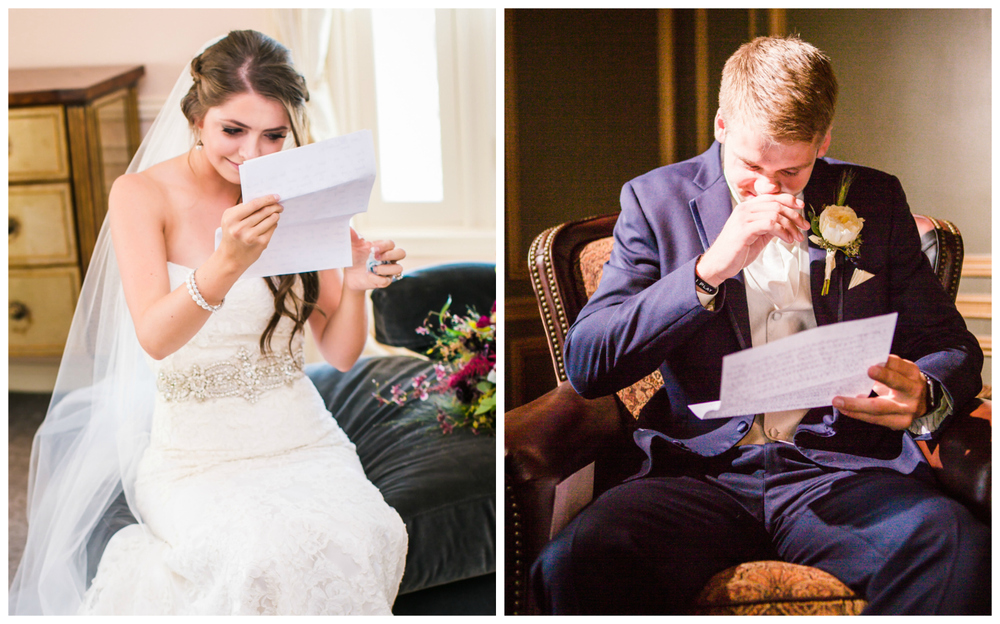 Bride and groom reading letters. Photographed by JMGant Photography, Denver Colorado wedding photographer.