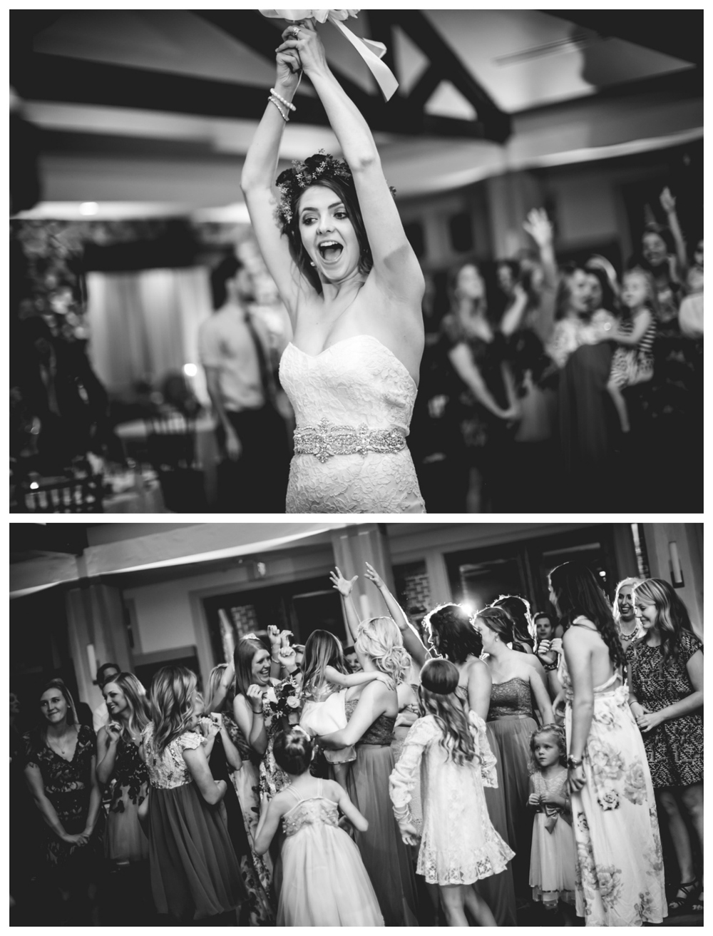 Bouquet toss at Highlands Ranch Mansion.   Photographed by JMGant Photography, Denver Colorado wedding photographer.