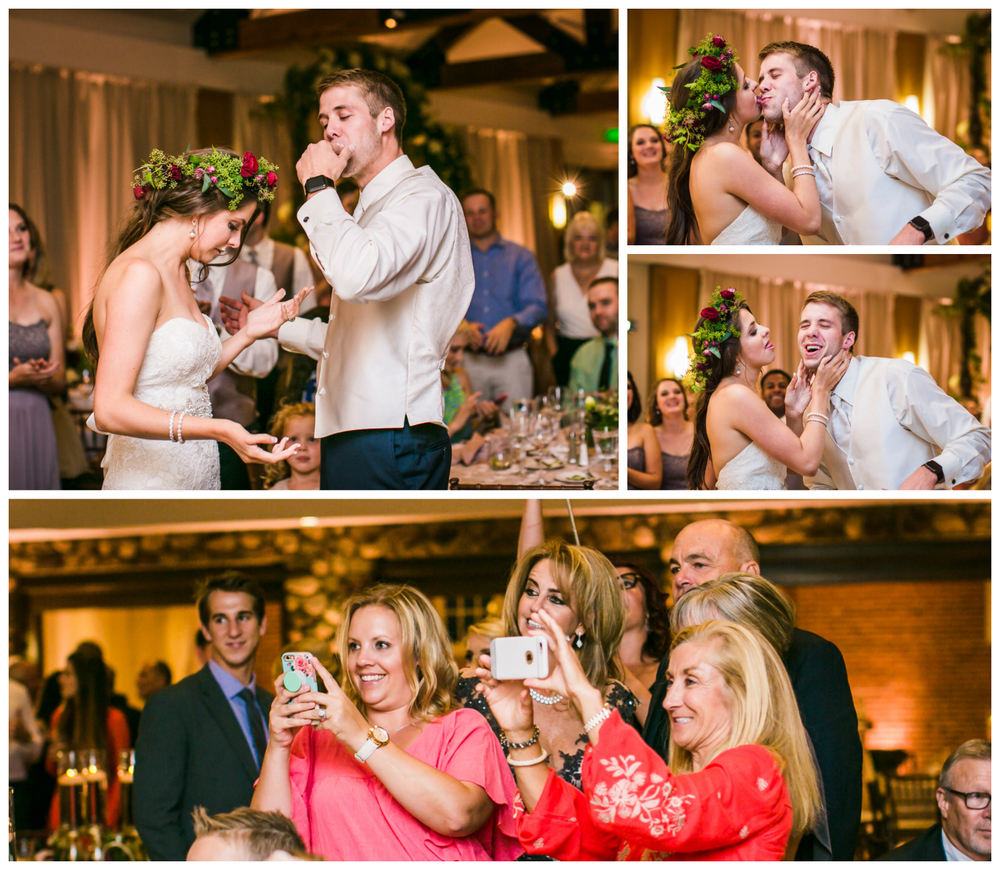 Cake cutting at Highlands Ranch Mansion.    hotographed by JMGant Photography, Denver Colorado wedding photographer.