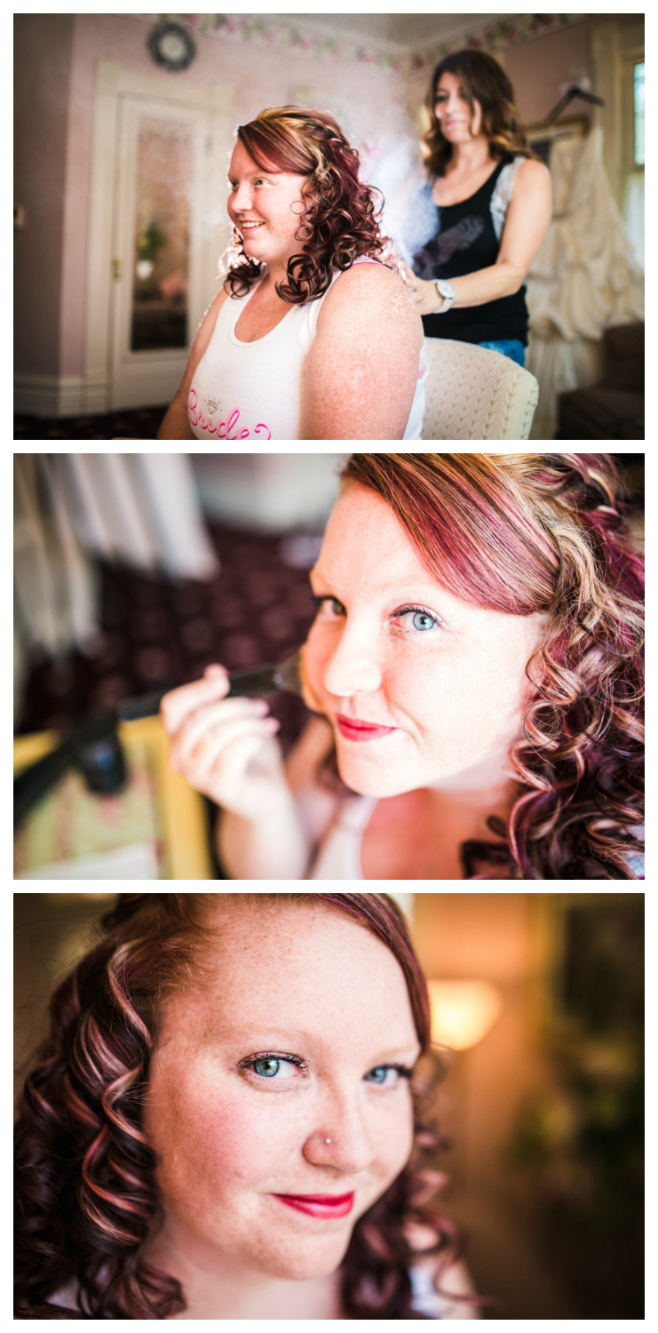 Bride getting her hair and makeup done. Photographed by JMGant Photography.