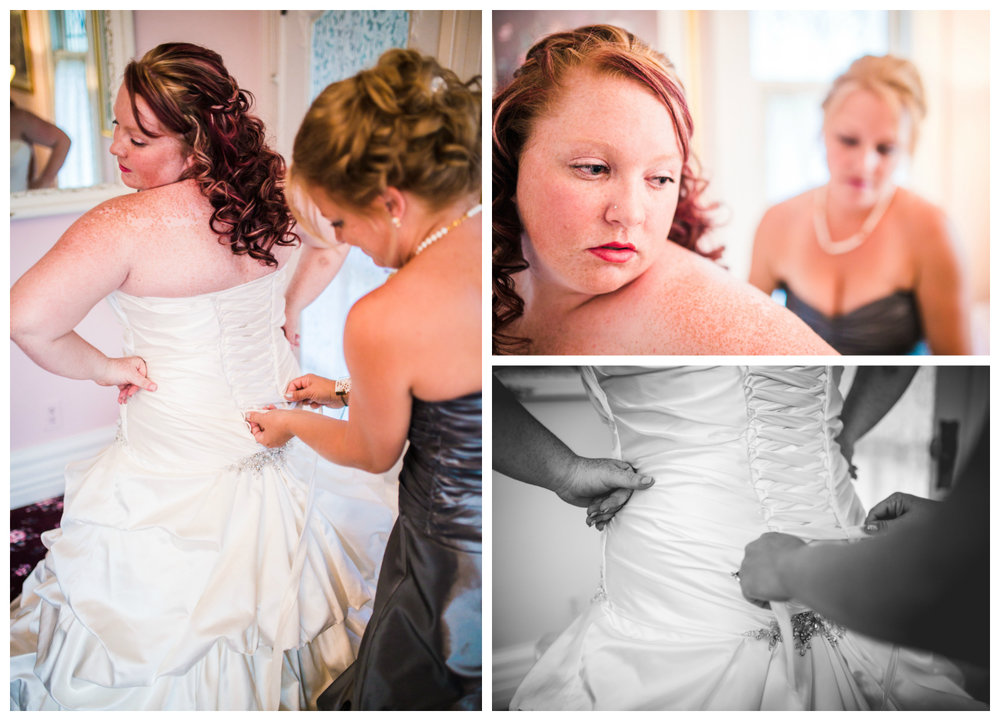 Mom helping bride get into her dress. Photographed by JMGant Photography.