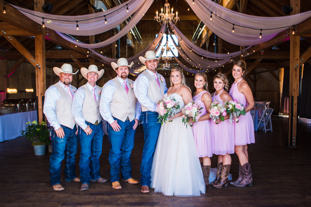 Wedding picture at the Big Red Barn at Highland Meadows Golf Course. Phototgraphed by Jared M. Gant of JMGant Photography.