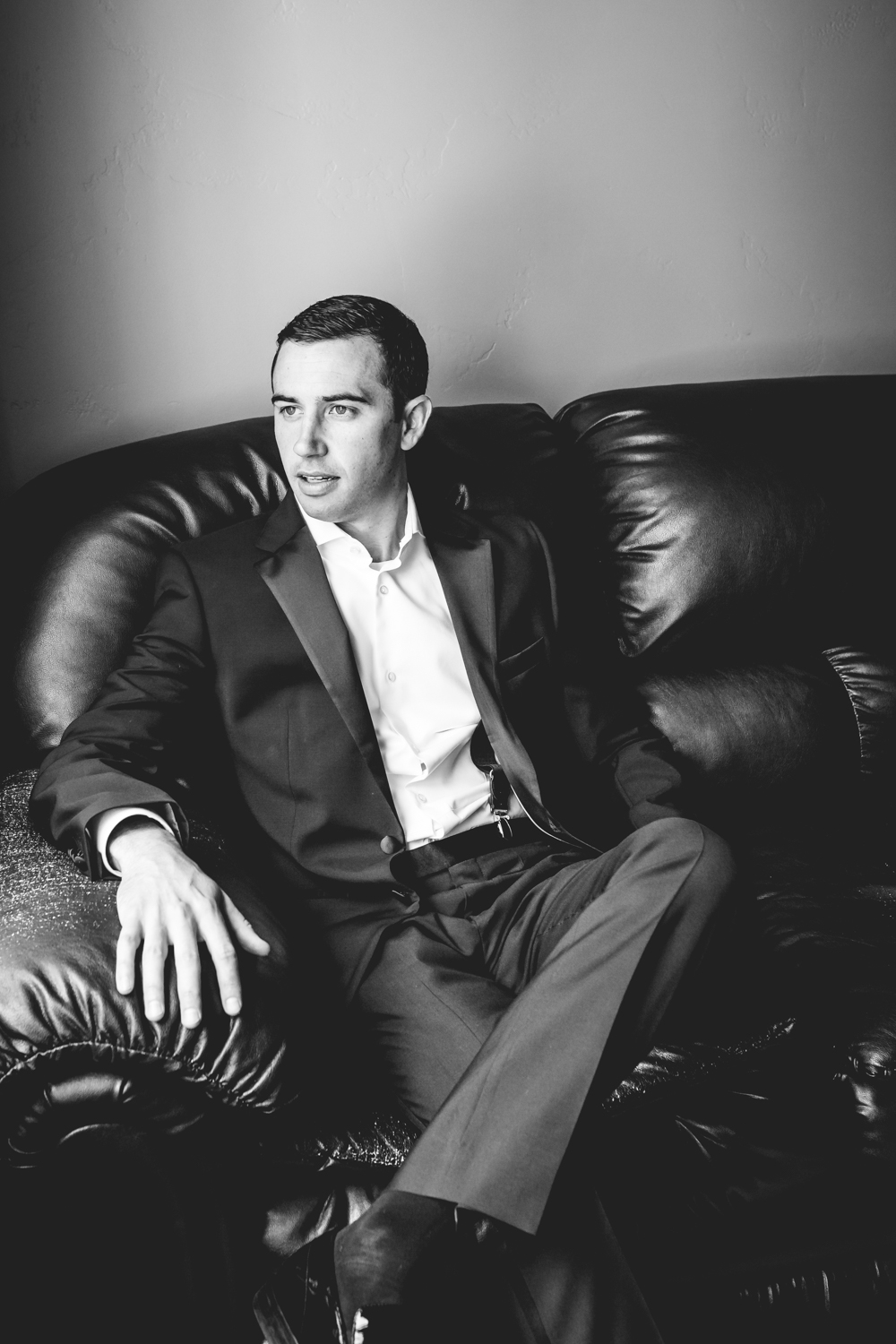Groom waiting patiently for his Vail Colorado Wedding photographed by JMGant Photography.