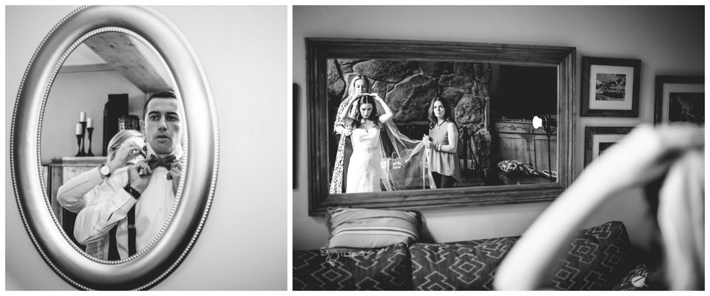 Bride and groom both looking into mirrors getting ready for their Vail Colorado Wedding photographed by JMGant Photography.