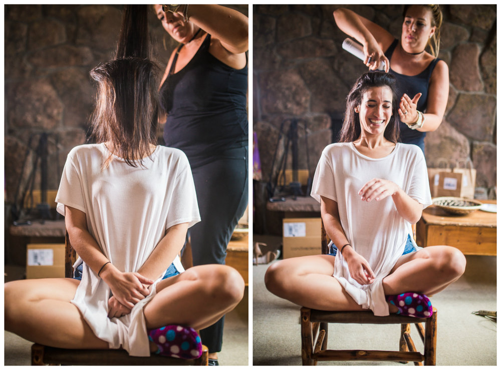 Bridesmaid getting ready for her Vail Colorado Wedding photographed by JMGant Photography.