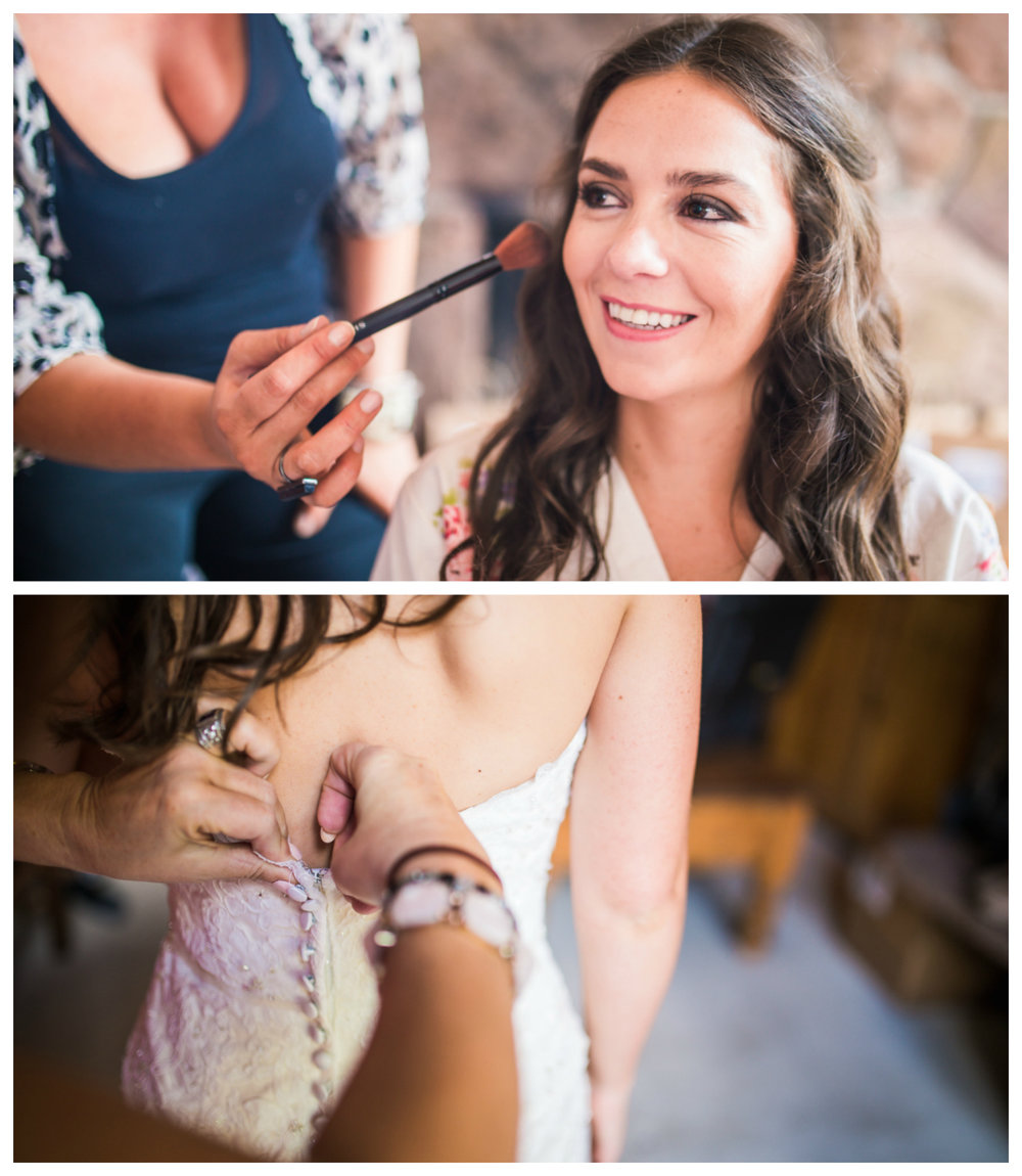 Bride getting in her dress for her Vail Colorado Wedding photographed by JMGant Photography.