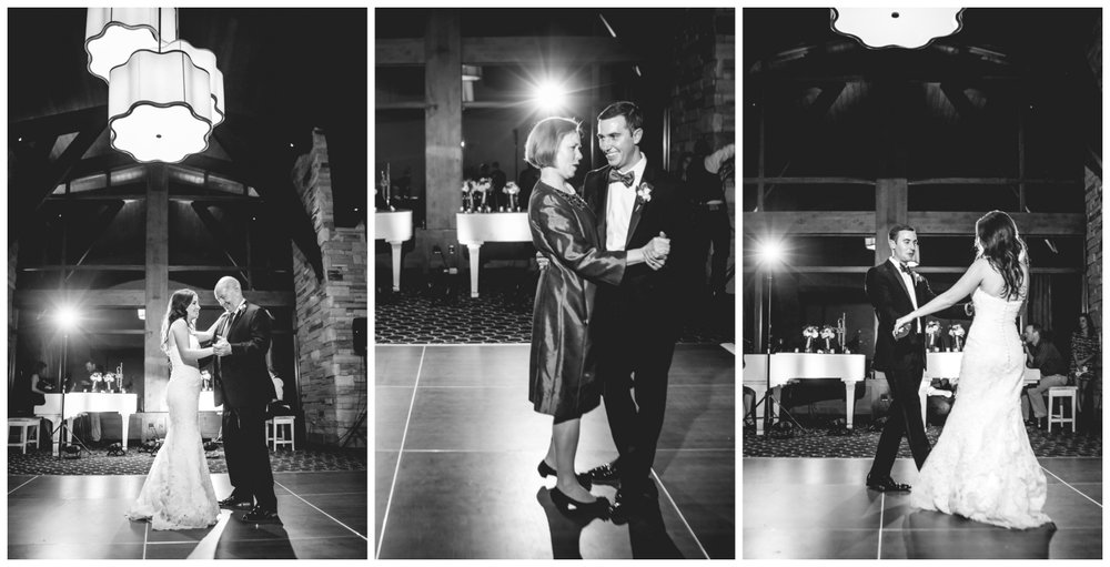 Father daughter and mother son dances.Vail Colorado Wedding photographed by JMGant Photography.
