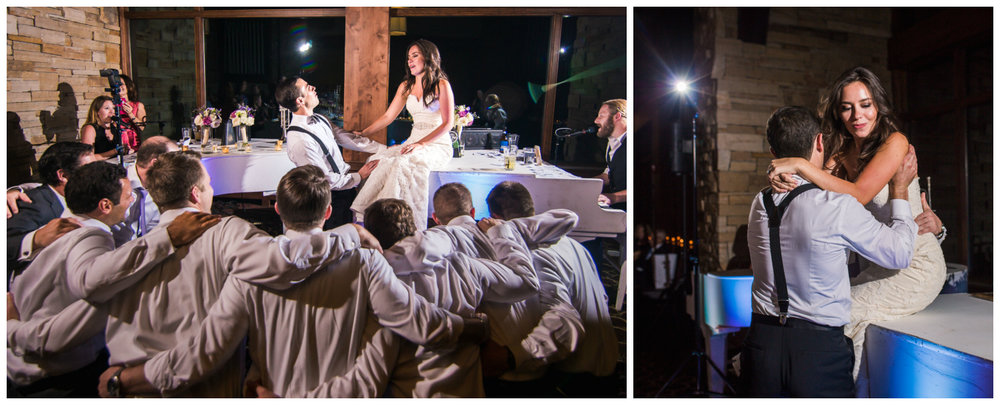Groomsmen sing to the bride.Vail Colorado Wedding photographed by JMGant Photography.