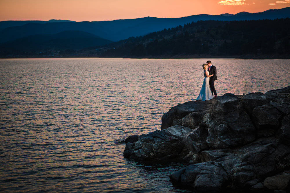 Sunset at a Nederland Colorado Wedding photographed by JMGant Photography.