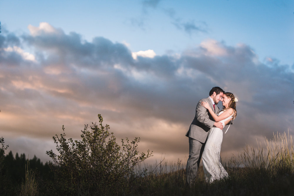 Fall sunset wedding by JMGant Photography.