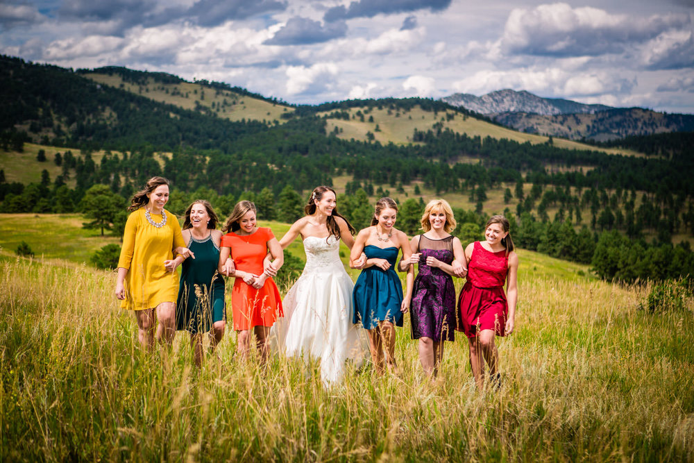 Bridesmaids Walking in the Mountains