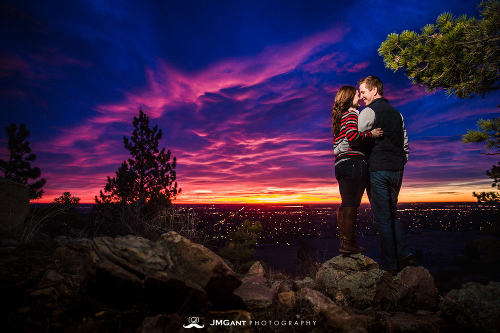 Sunrise Engagements over Fort Collins, photographed by Jared M. Gant of JMGant Photography